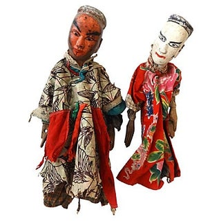 Folk Art Theater Opera Doll Puppets - A Pair