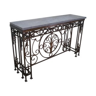Iron Gothic Style Slate Top Console Table