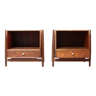 Kipp Stewart for Drexel Mid-Century Modern Walnut Nightstands - a Pair
