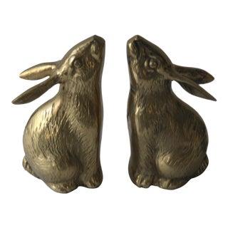 Brass Rabbit Bookends - A Pair