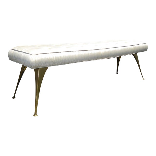 Jonathan Adler Mid-Century Modern Style Bench with Brass Legs - Image 1 of 11