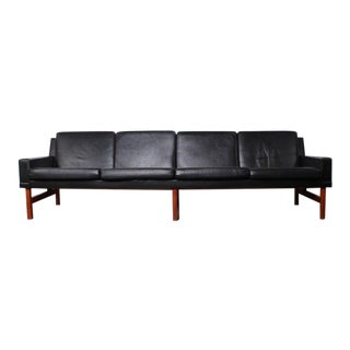 Long Danish Sofa in Leather and Teak
