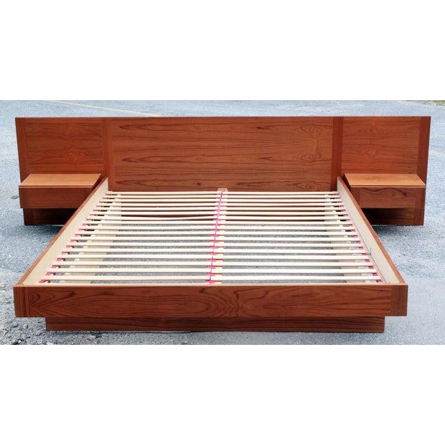 Danish Teak Queen Bed With Floating Nightstands - Image 2 of 11