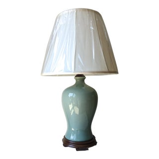 Chinese Celadon Lamp-Wood Base-Silk Shade