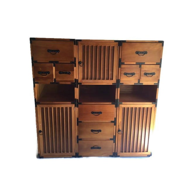 Image of Vintage 3-Piece Tansu Style Modular Storage Unit