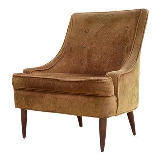1950s Vintage Mid Century Velvet Slipper Chair
