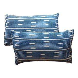 African Mali Indigo Mud Cloth Pillows - A Pair