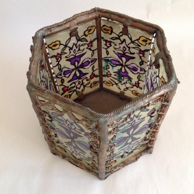 Bohemian Moroccan Brass & Glass Candle Lantern - Image 8 of 10