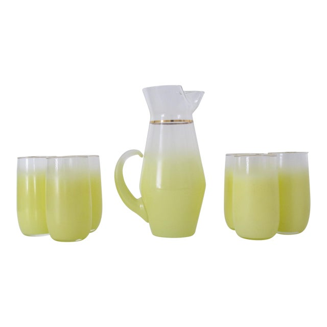 1970s Yellow Blendo Pitcher and Cups - Set of 7 - Image 1 of 9