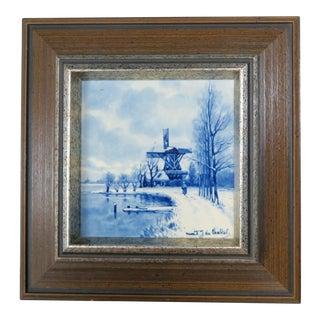 Blue and White Framed Porcelain Winter Scene, signed