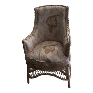 Pink Wicker Chair Upholstered in Anna French Fabric