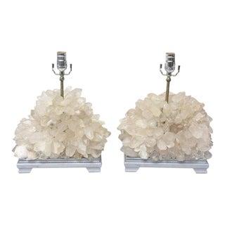 Vintage Carole Stupell Quartz Rock Crystal Table Lamps - a Pair
