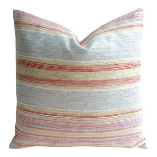 Coral & Grey Stripe Euro Sham Pillow Cover