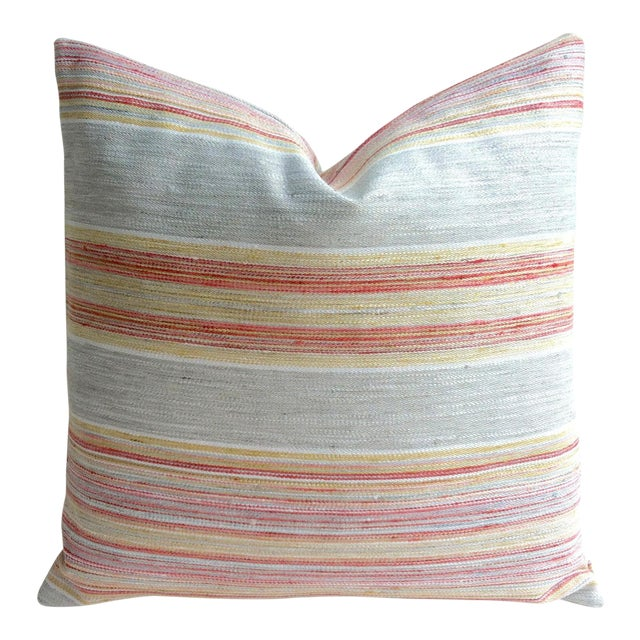 Coral & Grey Stripe Euro Sham Pillow Cover - Image 1 of 6