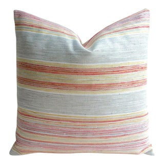 Coral & Grey Stripe Euro Sham Pillow Cover