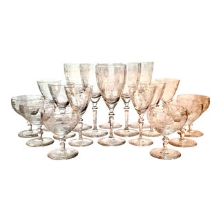 Art Deco Etched Crystalware Set - 18 Pieces