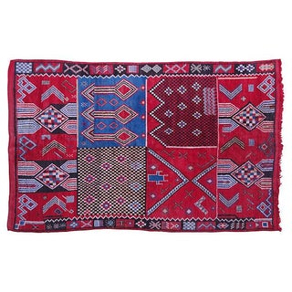 Blue & Red Moroccan Rug - 8'3'' X 5'2''