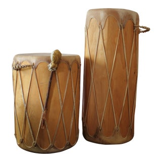 Wood and Hide Drum Accent Tables - A Pair