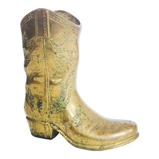 Large Vintage Brass Boot Vase