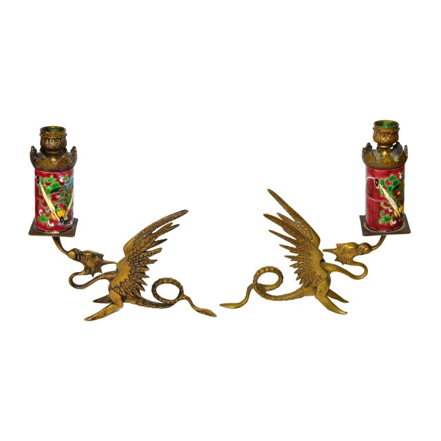 Image of Antique Longwy Gryphon Candlesticks - A Pair