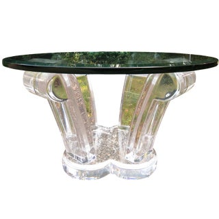 Mid-Century Round Lucite & Glass Cocktail Table