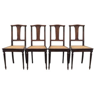 Antique French Dining Chairs With Cane Seats - Set of 4