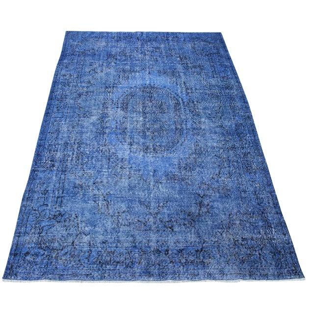 Dark Blue Turkish Over-Dyed Rug - 6′1″ × 10′4″ - Image 1 of 9