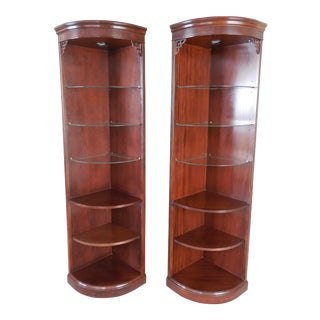 Drexel Chippendale Mahogany Lighted Corner Cabinets - A Pair
