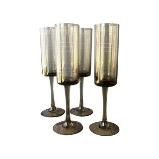 1970's Smoked Glass Champagne Flutes - Set of 4