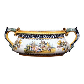 Henriot Quimper Early 20th Century French Hand-Painted Faience Jardinière