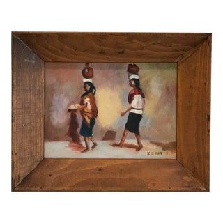 Vintage Acrylic Painting of Women Balancing