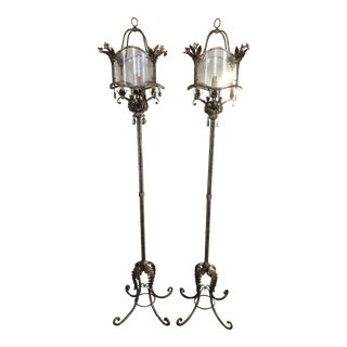 Currey and Co. Iron Floor Lamps - A Pair