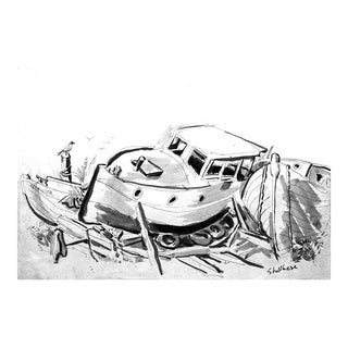 "1950s Vintage George Shellhase ""Pathfinder Boat"" Drawing Giclee Print"
