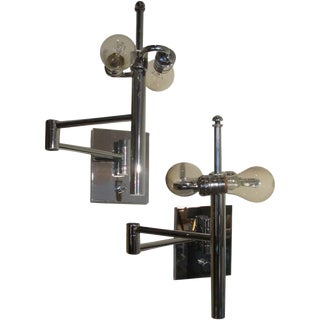A Pair of Casella Extendable Wall Lamps in Chrome (Label)
