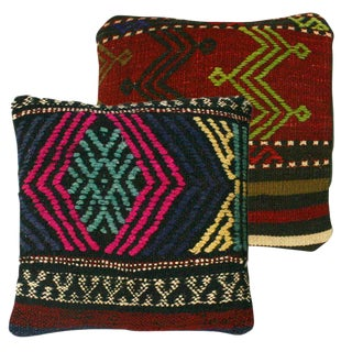 Rug and Relic Tribal Pattern Kilim Pillows - a Pair
