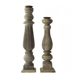 Reclaimed Wood Baluster Candle Holders - Pair