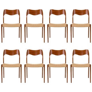 Set of Eight Teak Niels Moller #71 Dining Chairs