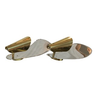 1950's Italian Brass Wall Sconces - A Pair