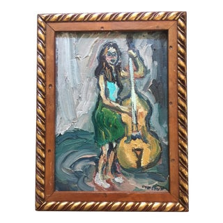 French Oil Painting of a Bassist