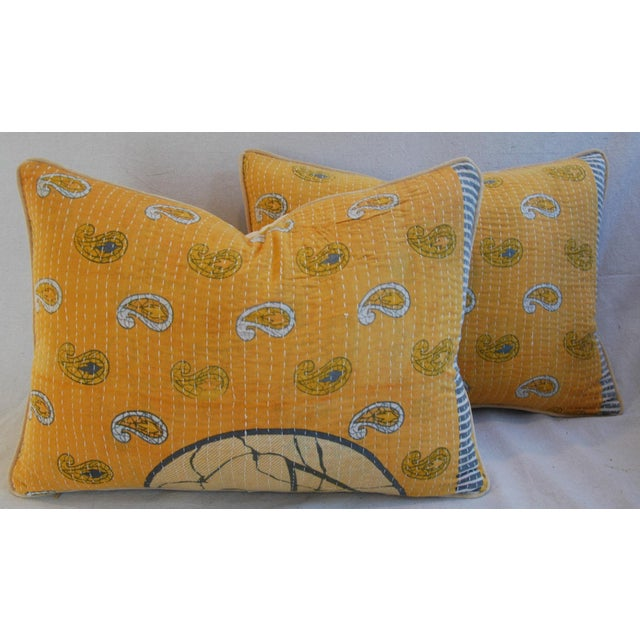 Custom Boho-Chic India Kantha Textile Pillows - A Pair - Image 2 of 10