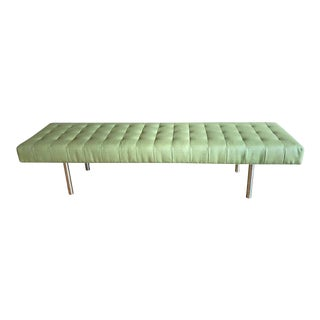 Chrome & Tufted Green Leather Bench