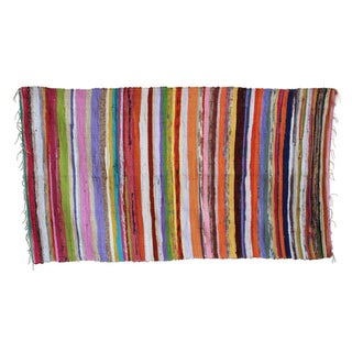"""Recycled Colorful Striped Rug - 3'4"""" x 5'"""