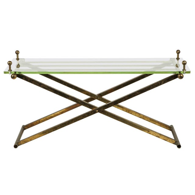 Brass & Glass Tray Coffee Table - Image 1 of 8