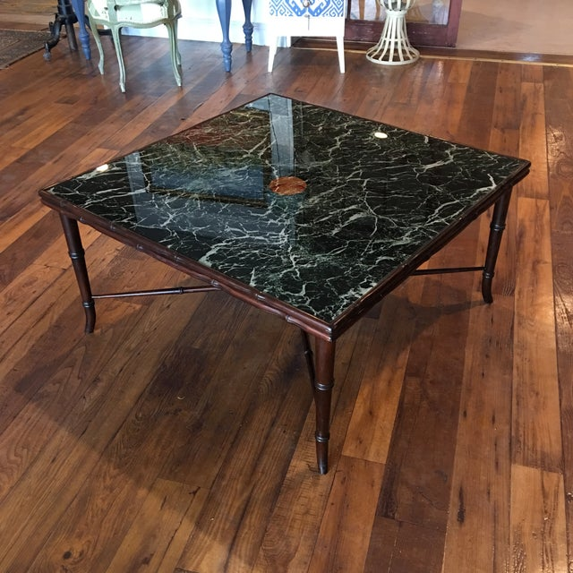 Mid-Century Regency Faux Bamboo Marbled Table - Image 3 of 8
