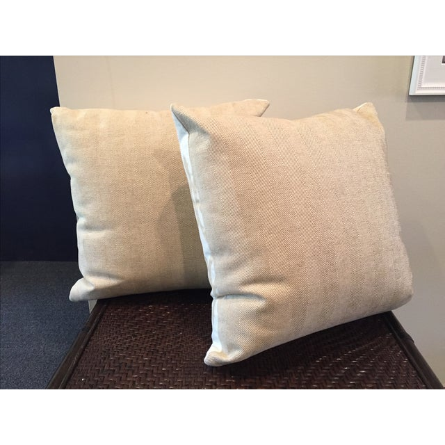 Image of Tan and White Throw Pillows - A Pair