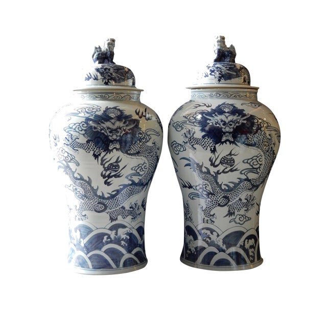 Mansion Size H. Painted Dragon Ginger Jars - a Pair - Image 1 of 9