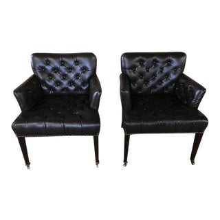 Tufted Brown Leather Chesterfield Club Chairs - A Pair