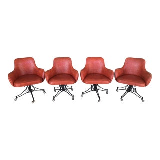 Mid-Century Modern Orange Vinyl Swivel Arm Chairs- Set of 4