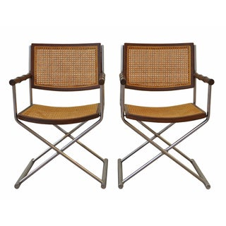 Chrome, Cane and Bamboo Directors Chairs - Pair