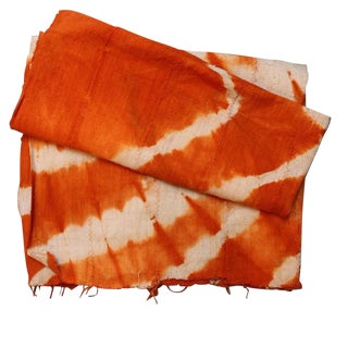 Tangerine Orange Mud Cloth Textile